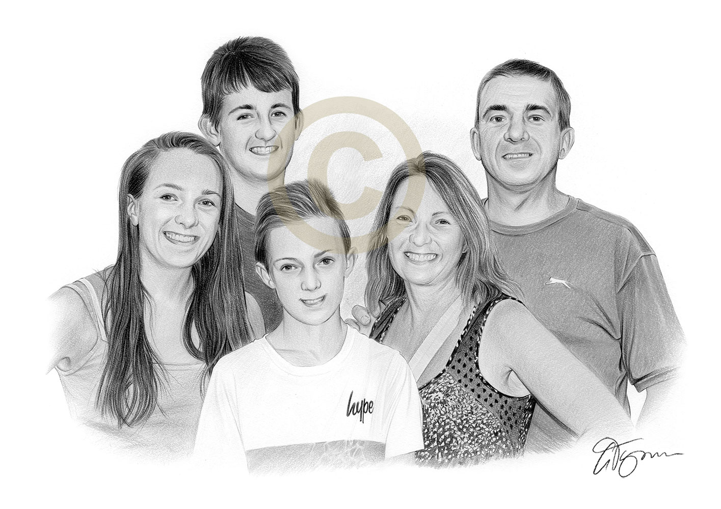Pencil drawing commission of a family by artist Gary Tymon
