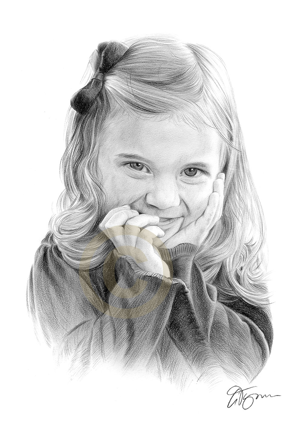 Pencil drawing commission of a young girl by artist Gary Tymon